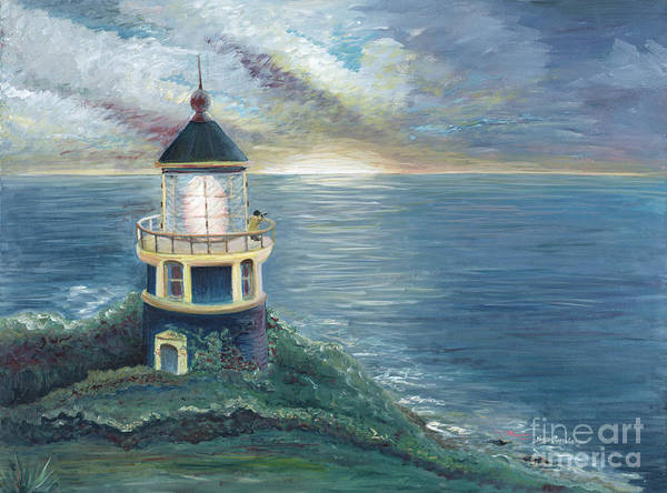 Lighthouse Art Print featuring the painting The Lighthouse by Nadine Rippelmeyer