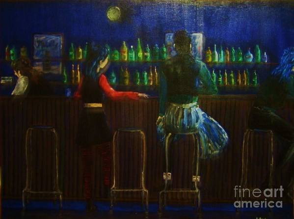 Bar Scene Art Print featuring the painting The Local Bar by Reb Frost