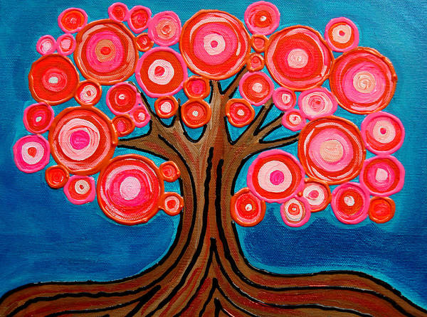 Tree Colorful Bright Funky Playful Pink Orange Abstract Art Print featuring the painting The Lollipop Tree by Pamela Cisneros