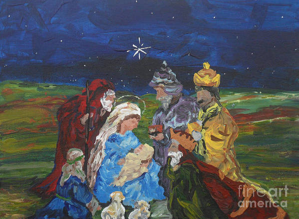Nativity Art Print featuring the painting The Nativity by Reina Resto