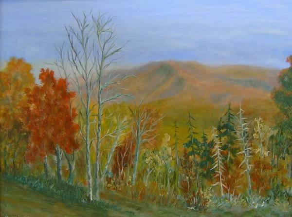 Mountains; Trees; Fall Colors Art Print featuring the painting The Parkway View by Ben Kiger