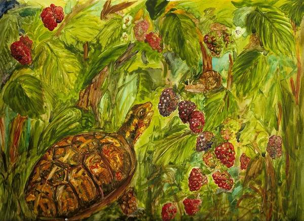 Turtle Art Print featuring the painting The Race by Colleen Birch