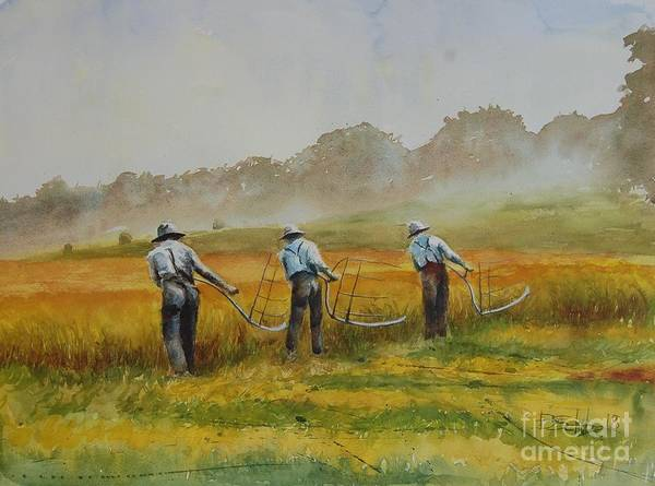 Watercolor Art Print featuring the painting The Reapers by Brad Schulze
