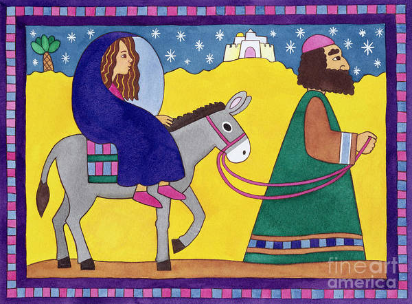 Donkey; Cloak; Palm Tree; Desert; Leading; Bethlehem Art Print featuring the painting The Road To Bethlehem by Cathy Baxter