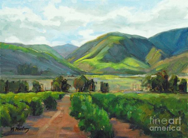 Orange Grove Art Print featuring the painting The Scent Of Citrus - Santa Paula Citrus Grove Central Coast Landscape by Karen Winters