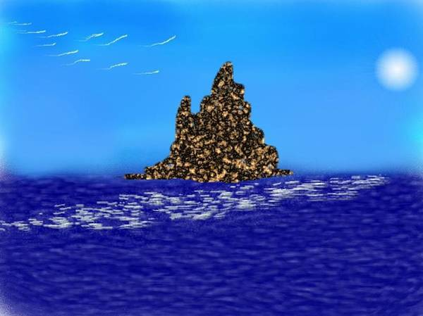 Sky.moon.birds.island.sea.reflection Moon On Water.rest.silence. Art Print featuring the digital art The Solitude by Dr Loifer Vladimir