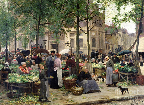 The Square In Front Of Les Halles Art Print featuring the painting The Square In Front Of Les Halles by Victor Gabriel Gilbert