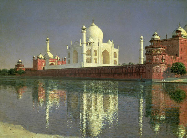 The Art Print featuring the painting The Taj Mahal by Vasili Vasilievich Vereshchagin
