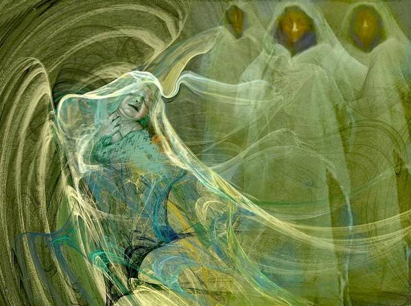 Green Art Print featuring the drawing The Three Guardians by Patricia Banks