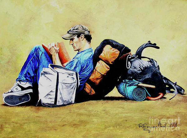 Travel Art Print featuring the painting The Traveler 2 - El Viajero 2 by Rezzan Erguvan-Onal