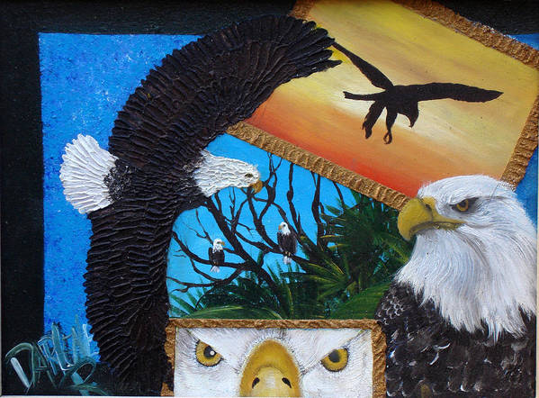 Eagle Art Print featuring the painting Those Eyes  Eagle by Darlene Green