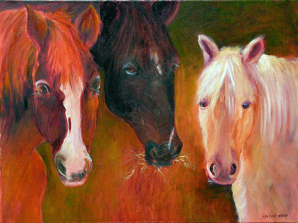 Horses Art Print featuring the painting Three Amigos by Nita Leger Casey
