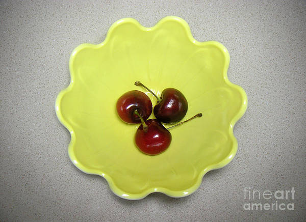 Nature Art Print featuring the photograph Three Cherries In A Bowl by Lucyna A M Green