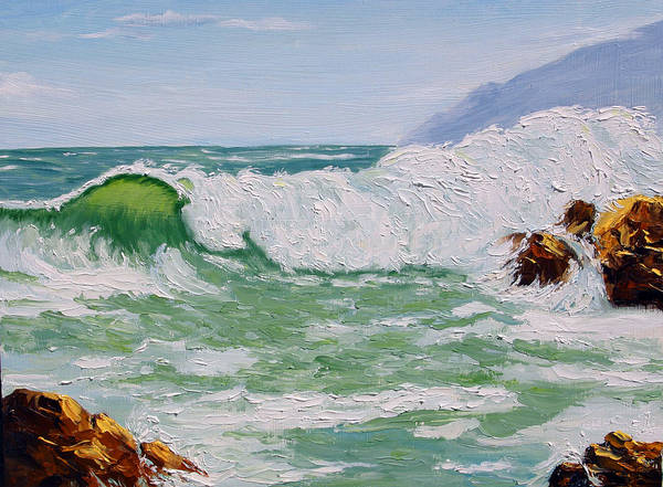 Sea Scape Art Print featuring the painting Thundering Surf by Lorraine Foster