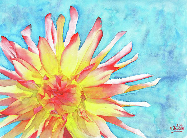 Watercolor Art Print featuring the painting Tie-dye Dahlia by Ken Powers