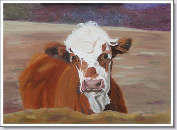 Cow Calf Farmscene Art Print featuring the painting Tiffany by Paula Emery