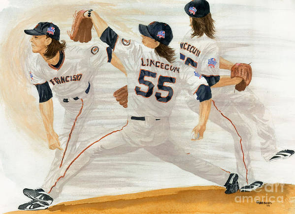 Tim Lincecum Art Print featuring the painting Tim Lincecum Study 2 World Series by George Brooks