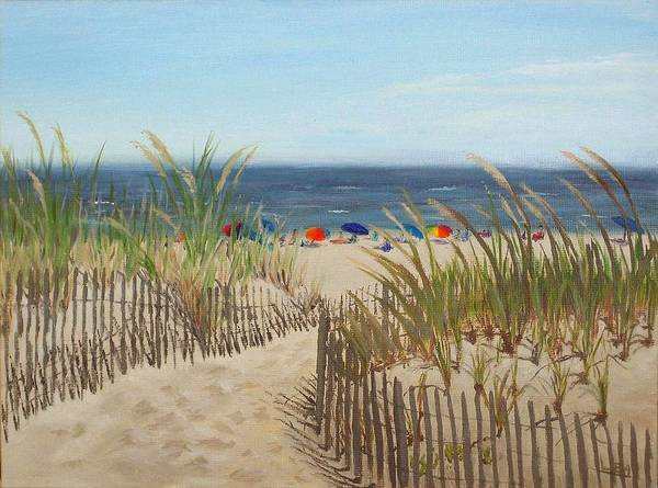 Beach Art Print featuring the painting To The Beach by Lea Novak