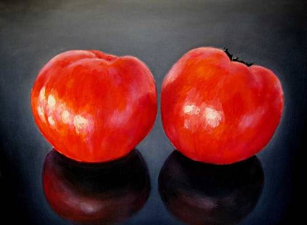Tomatoes Art Print featuring the painting Tomatoes Original Oil Painting by Natalja Picugina