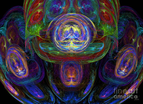Abstract Art Print featuring the digital art Tourbillons Multicolores by Dom Creations