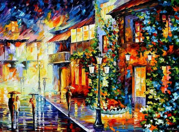 Afremov Art Print featuring the painting Town From The Dream by Leonid Afremov