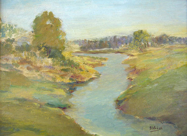 Landscape Art Print featuring the painting Tranquil Stream by Jeannette Ulrich