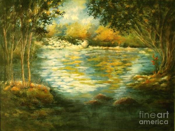 Canvas Print Landscape;river;landscape; Water; Trees; Flowing River; Rocks; Nature; Lake Art Print featuring the painting Tranquility by Madeleine Holzberg