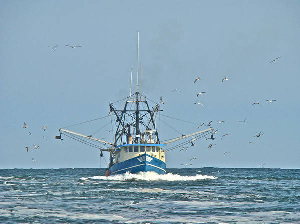 Trawler Art Print featuring the photograph Trawler Homeward Bound by Mother Nature