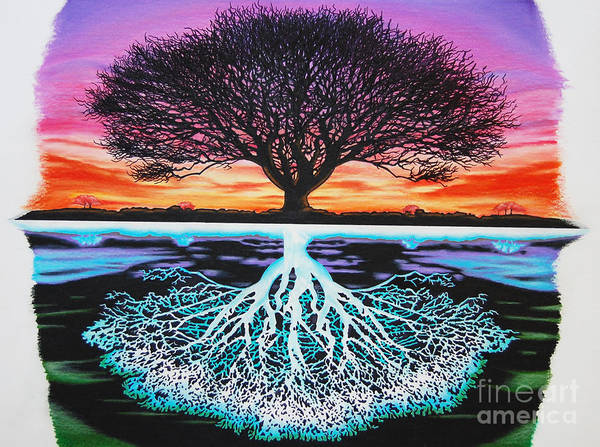 Tree Of Life Art Print featuring the drawing Tree Of Life And Negative by Brian Schuster