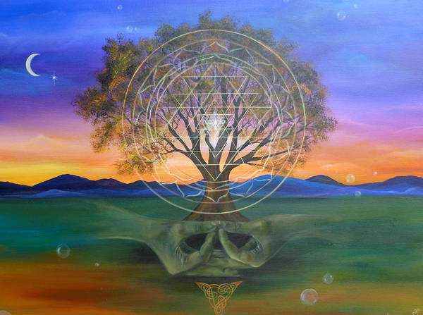 Landscape Art Print featuring the painting Tree Yantra by Sundara Fawn