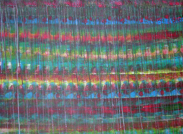 Abstract Art Print featuring the painting Trickle II by Russell Simmons