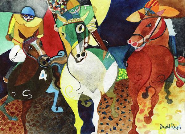 Horses Art Print featuring the painting Trifecta by David Ralph