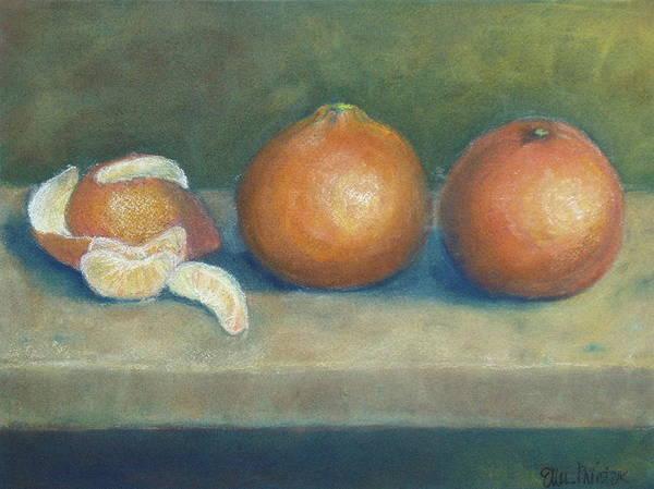 Still Life Fruit Tangerine Art Print featuring the painting Trio Of Tangerines by Ellen Minter