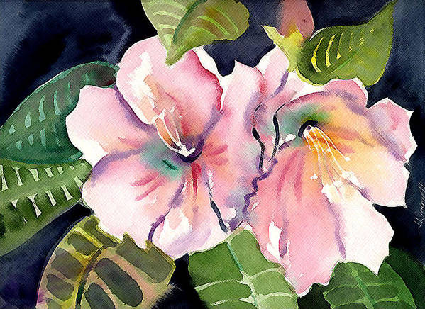 Tropical Art Print featuring the painting Tropical Flowers by Janet Doggett