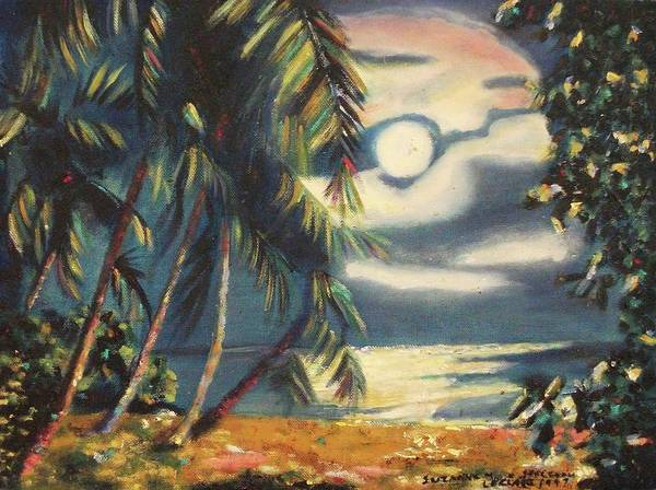 Tropical Art Print featuring the painting Tropical Nights by Suzanne Marie Leclair