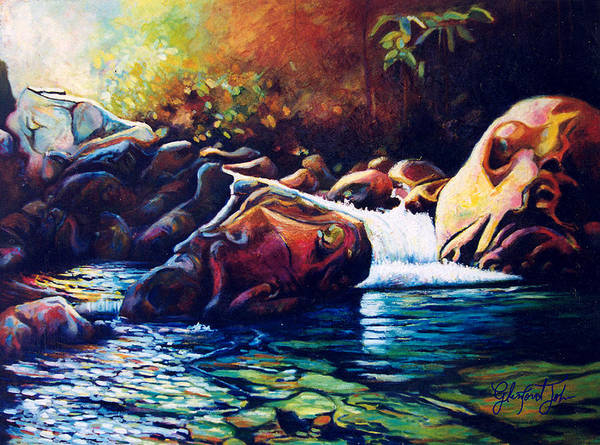 River Art Print featuring the painting Tropical River by Glenford John