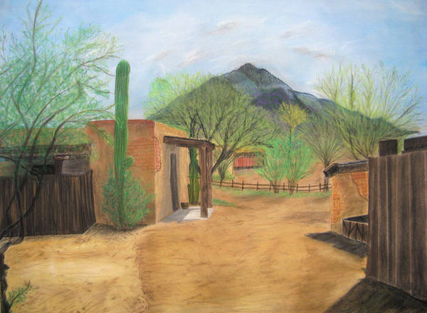 Landscape Art Print featuring the pastel Tucson Ranch by Maris Sherwood