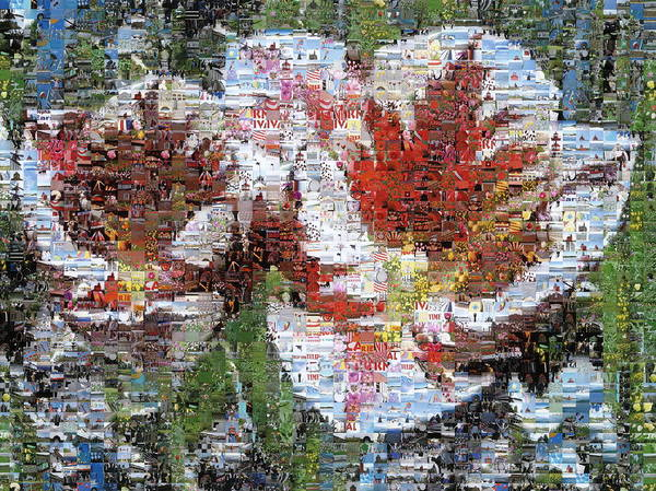 Lighthouse Art Print featuring the photograph Tulips In Springtime Photomosaic by Michelle Calkins