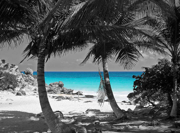 Travelpixpro art print featuring the digital art tulum mexico beach color splash black and white by