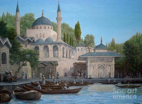 Historic Rendering Art Print featuring the painting Turkish Mosque by Lee Thomason