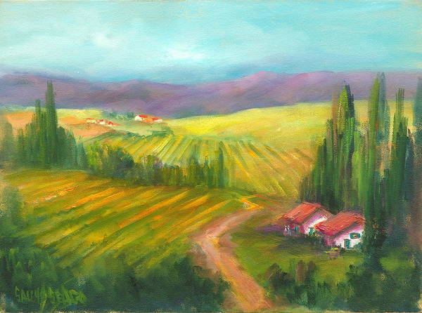 Vineyards Art Print featuring the painting Tuscan Fields by Sally Seago