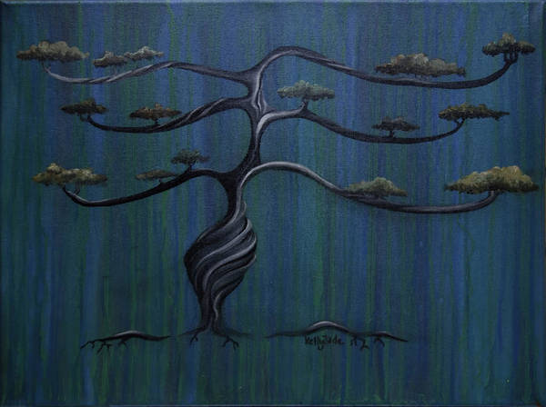 Tree Art Print featuring the painting Twisted Oak by Kelly Jade King