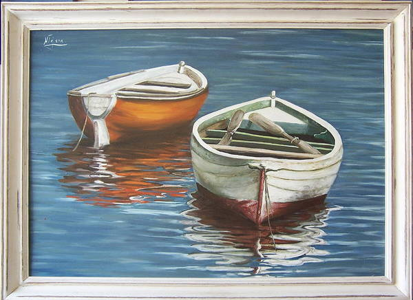 Boats Reflection Seascape Water Boat Sea Ocean Art Print featuring the painting Two Boats by Natalia Tejera