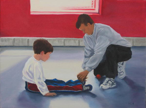 Child Art Print featuring the painting Tying Shoes by Lea Novak