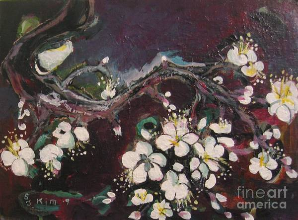 Ume Blossoms Paintings Art Print featuring the painting Ume Blossoms by Seon-Jeong Kim