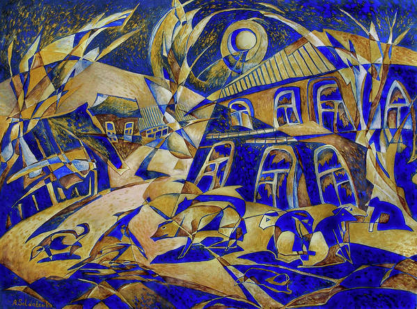 Avant-garde Art Print featuring the painting Under Gold Light by Andrey Soldatenko