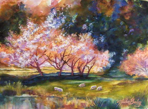 Sheep Grazing Art Print featuring the painting Under The Blossom Trees Sold by Therese Fowler-Bailey