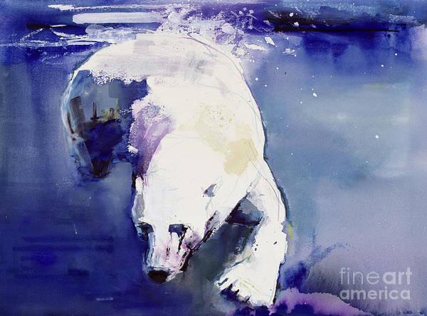 Water; Polar; Ursus Maritimus; Swimming; Bear; Underwater Art Print featuring the painting Underwater Bear by Mark Adlington
