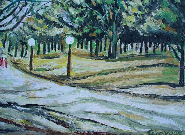 Paintings In Acrylics And Oils On --- Isaints Art Print featuring the painting Us Landscpe-14 by Anand Swaroop Manchiraju