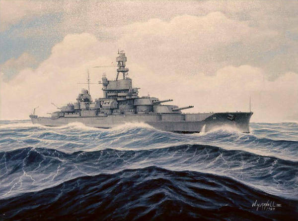 Marine Art Art Print featuring the painting Uss Pensylvania by William H RaVell III